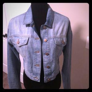 Cropped jean jacket.